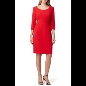 Tahari red 3/4 sleeve crepe sheath dress